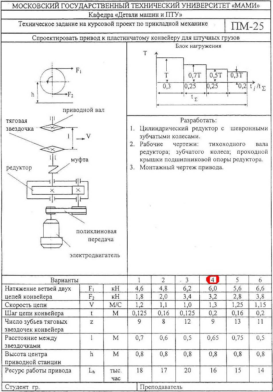 техническое задание на курсовой проект по ДМ
