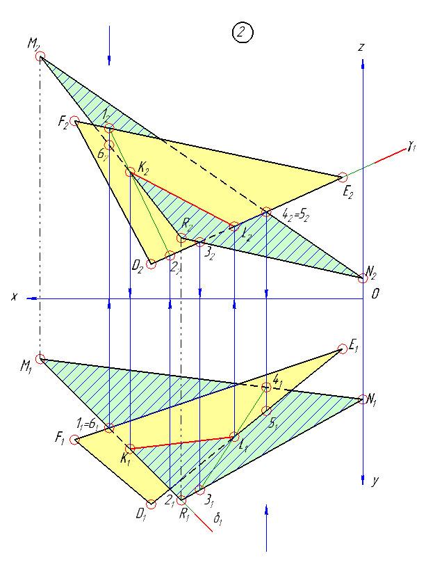 Готовый эпюр по начертательной геометрии для МГУПС - задача №2